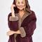 Burgundy reversible faux fur hooded coat