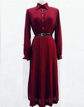 dress,red,belt,buttons,long dress,burgundy,burgundy dress,vintage