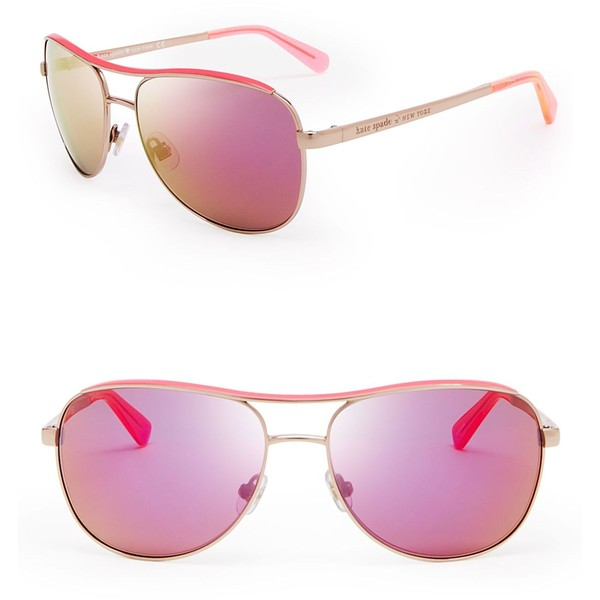 4dc2472f1f28b Kate Spade New York Dusty Mirrored Aviator Sunglasses - Polyvore