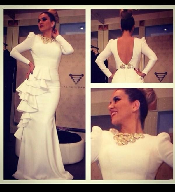 dress white dress gold sequins