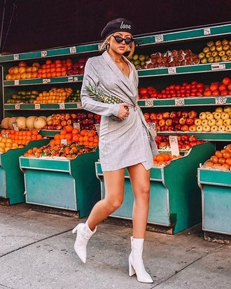 dress mini dress grey dress blazer dress boots white boots beret sunglasses wrap dress pointed boots