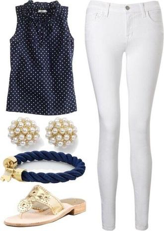 top polka dots white jeans