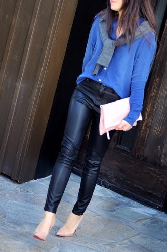 posh classy mom – a lifestyle blog by sheree blogger top sweater bag blouse clutch nude heels leather pants blue shirt