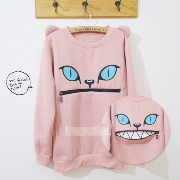 sweater pastel pink cat sweater