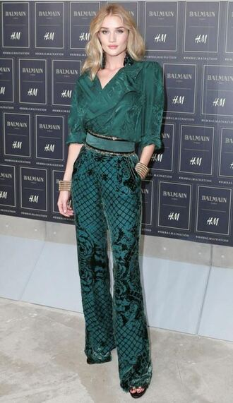 pants blouse rosie huntington-whiteley balmain green h&m forest green