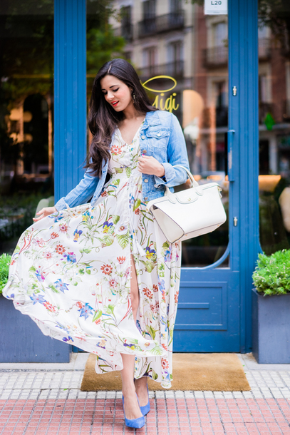 ad332c7c3de dress tumblr floral floral dress floral maxi dress maxi dress long dress  pumps jacket denim denim