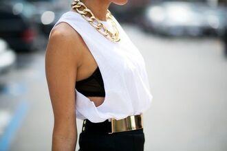 blouse belt sleveless gold luxury white black hot girl blood american horror story tumblr t-shirt
