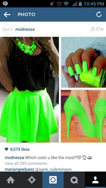 skirt neon skirt neon necklace neon nail polish neon heels shirt