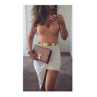 asymmetrical white skirt louis vuitton clutch pink bag bustier strapless nude top mini skirt date outfit party outfits summer outfits