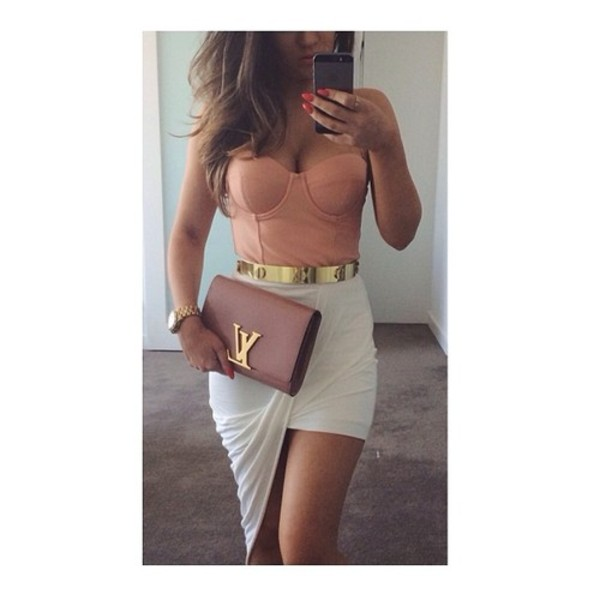 asymmetrical white skirt louis vuitton clutch pink bag bustier strapless nude top mini skirt party outfits summer outfits