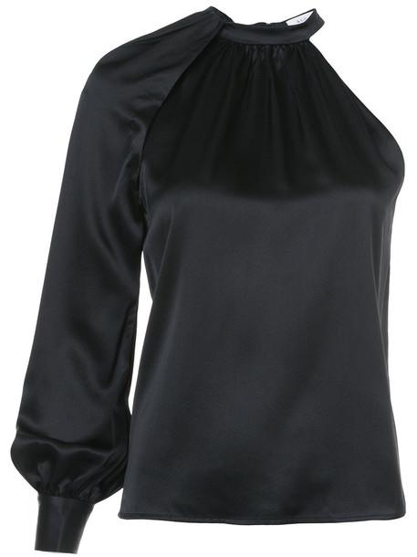 A.L.C. blouse women spandex black silk top