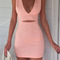 Pink sleeveless hollow waist v neck mini dress