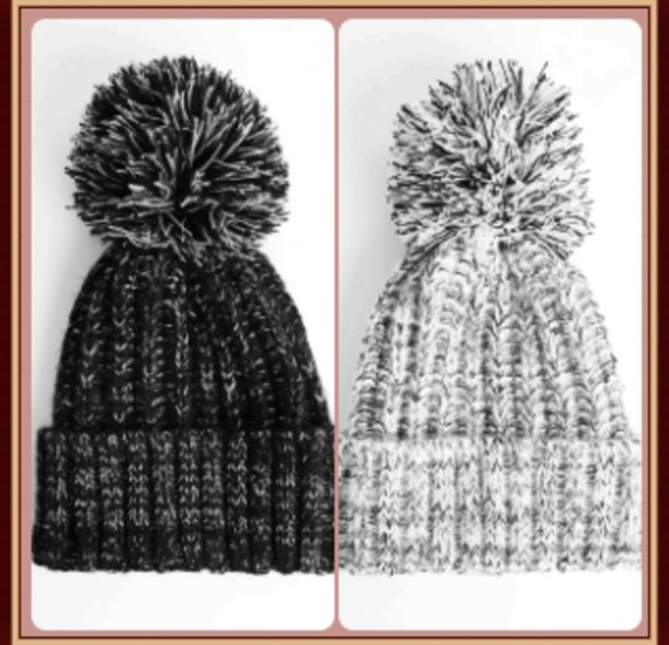 hat blanc/noir noir/blanc ponpon swag mignon hivert bonnet