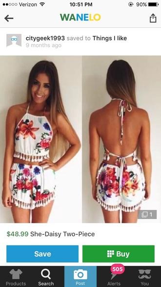 romper skirt crop tops tassel tassle floral colorful summer spring cute beach dress boho