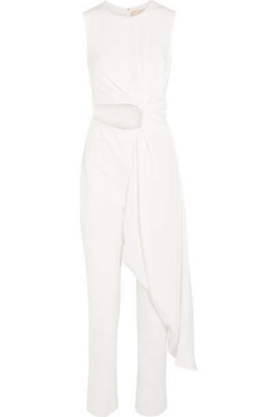 Roksanda - Thurloe Draped Cutout Jersey And Stretch Silk-blend Crepe Jumpsuit - Ivory