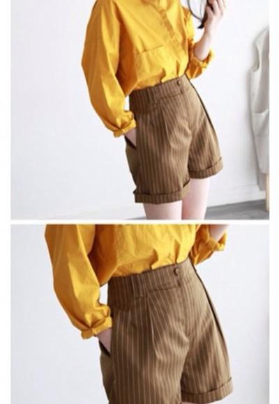 shorts High waisted shorts hipster shorts stripes blouse mustard
