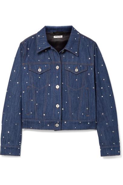 Miu Miu jacket denim jacket denim embellished embellished denim