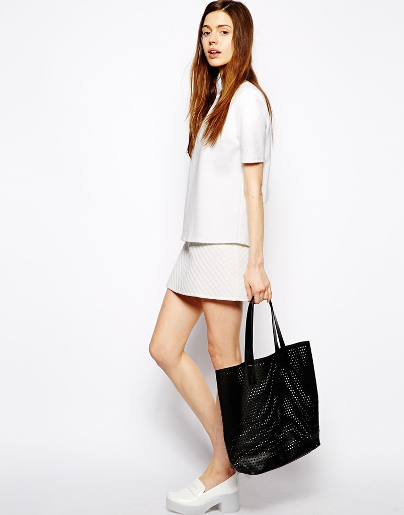 Heart cut out tote bag