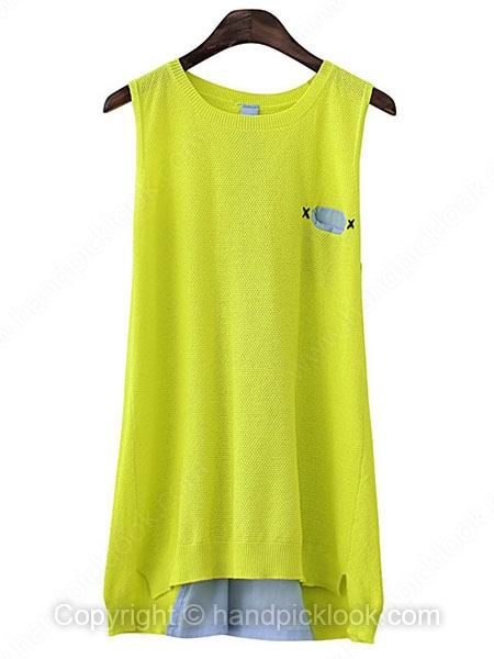Yellow Green Round Neck Sleeveless Pockets Dipped Hem Vest - HandpickLook.com
