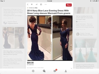 dress navy blue dress lace dress mermaid wedding dresses