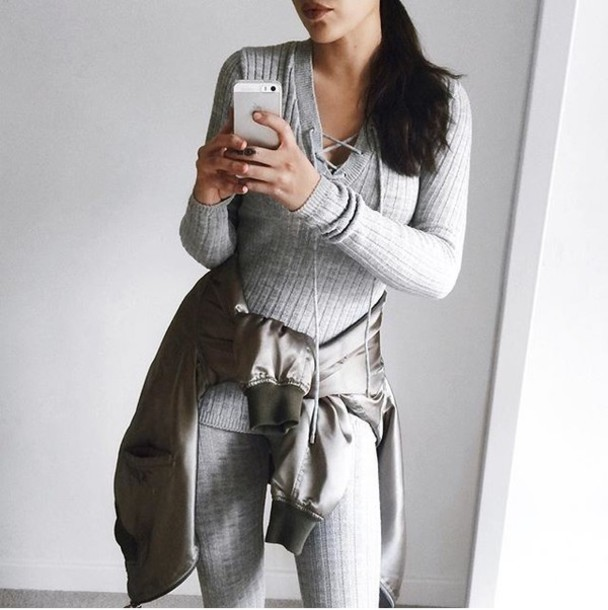 Leggings: grey leggings, tumblr, sweater, grey sweater, lace up ...