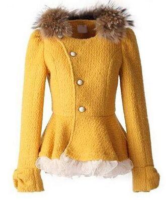 jacket yellow jacket yellow coat high waist coat yellow and white mesh fur collar peplum coat www.ustrendy.com
