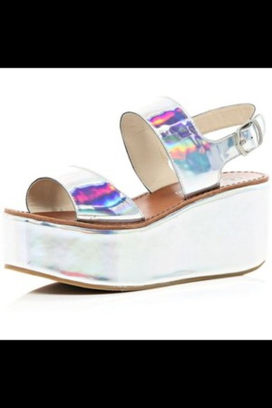 shoes shiny silver fashion hologram platforms sandals