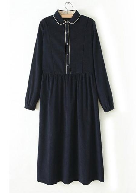 Women's stylish lapel pure color corduroy crinkled long dress online