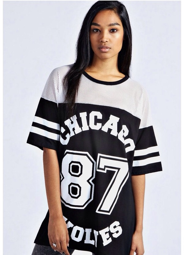 t-shirt 87 chicago 87 wolves black top white