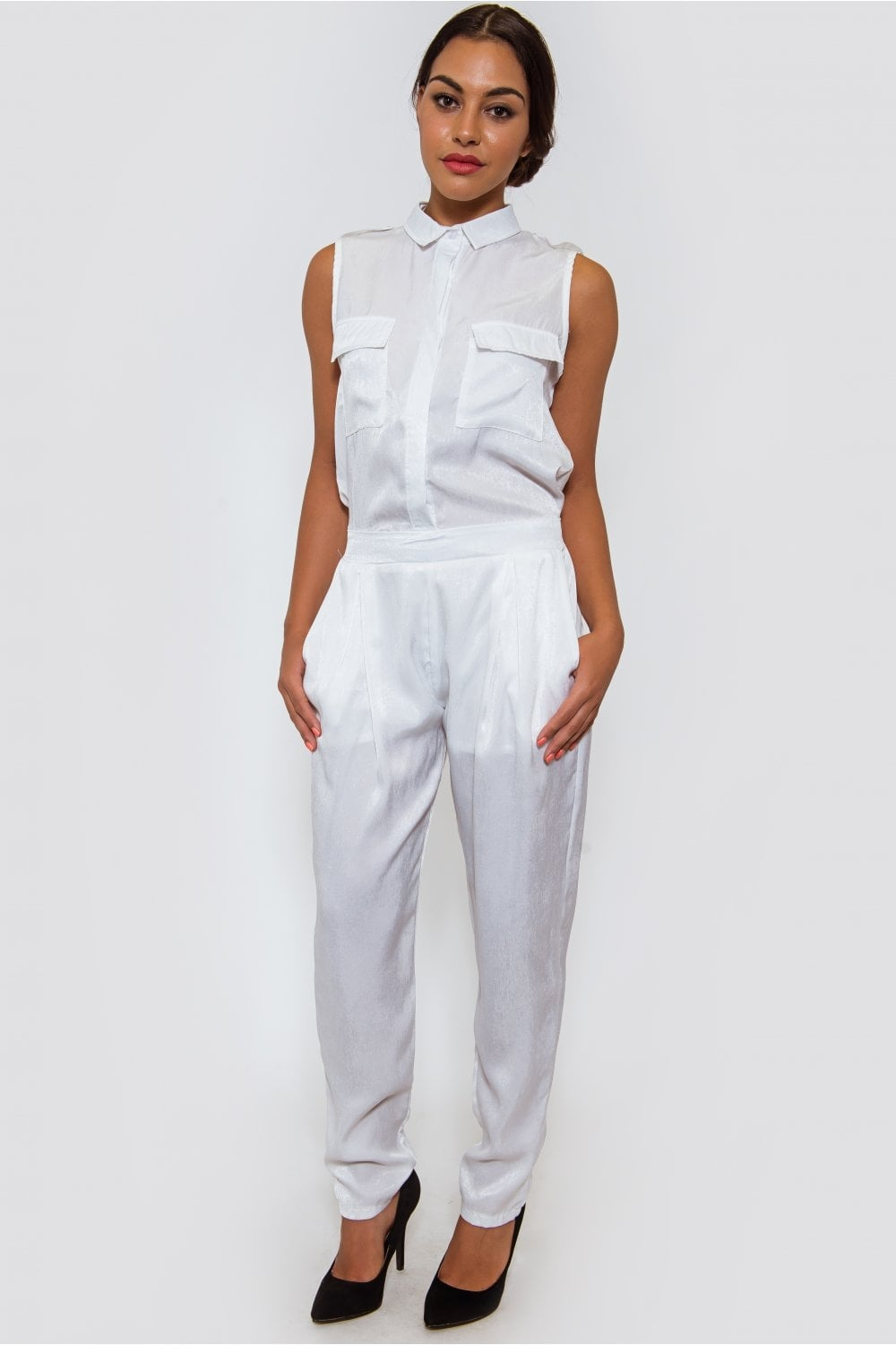 dbb841d3c9c White Satin Utility Jumpsuit - from The Fashion Bible UK
