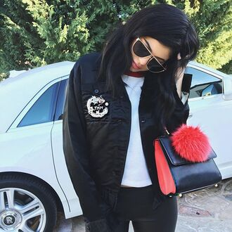 bag purse jacket instagram fall outfits sunglasses top fur bag charm