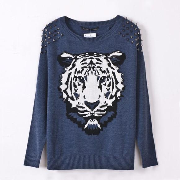 blue sweater tiger head tiger print studded sweater cool sweater
