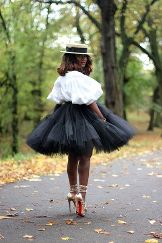 skirt tutu black mid length tulle skirt puffy