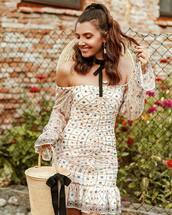 dress,mini dress,floral dress,off the shoulder dress,ruffle dress,handbag,basket bag,earrings