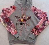sweater,grey,flowers,pink,hoodie,adidas sweater,adidas,floral