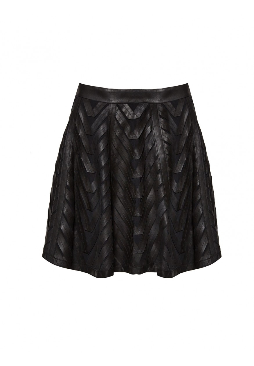 Zoe leather ribbon applique skirt