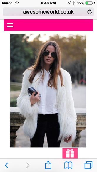 jacket fur coat faux fur white coat