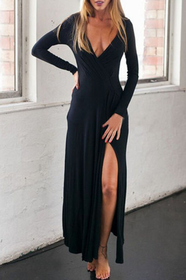 Long Sleeve Plunge Neck Dress