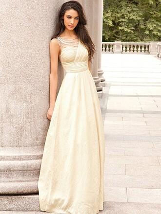 dress white prom gown cream beautiful classy long dress dressofgirl
