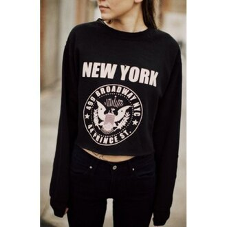 sweater new york city new yorker nyct clothing cropped sweater black black sweater printed sweater casual casual chic dope sweater swag logo usa college winter outfits rose wholesale autumn/winter tumblr clothes