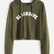 Letter print raw hem crop sweatshirt -shein(sheinside)