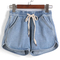 Drawstring with pockets denim shorts -shein(sheinside)