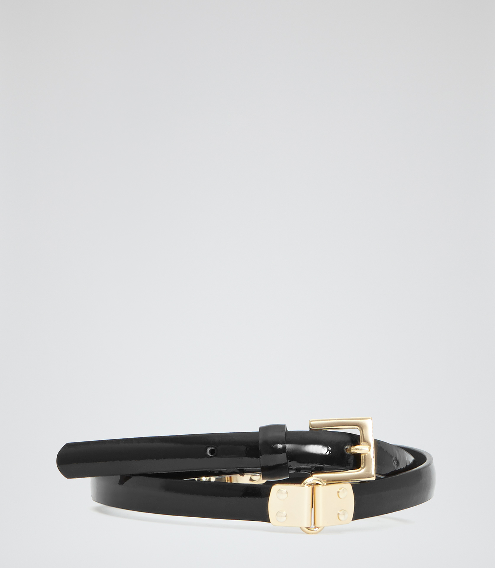 Rorie Black Hinge Detail Skinny Belt - REISS
