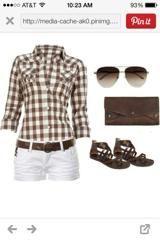 shorts white plaid shirt plaid red and white striped brown belt brown shoes belt shirt shoes sunglasses ripped jean