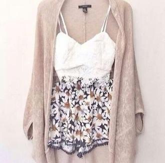 shorts floral short cardigan