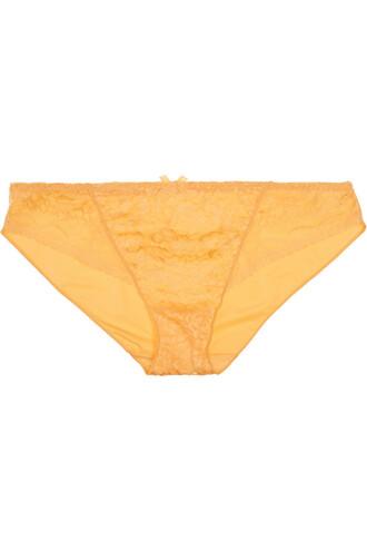 lace satin yellow underwear