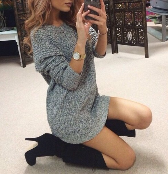 Sweater: boots, cozy sweater, oversized sweater, sweater dress ...