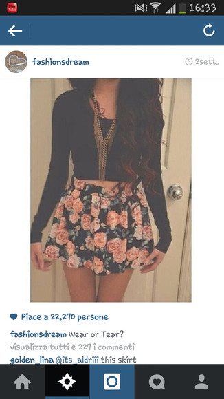 skirt shirt black tank jewels floral flowers flowerskirt pink crop tops outfit