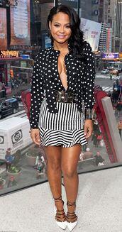 skirt,blouse,pumps,christina milian,mini skirt,polka dots,striped skirt,bracelets,jewels