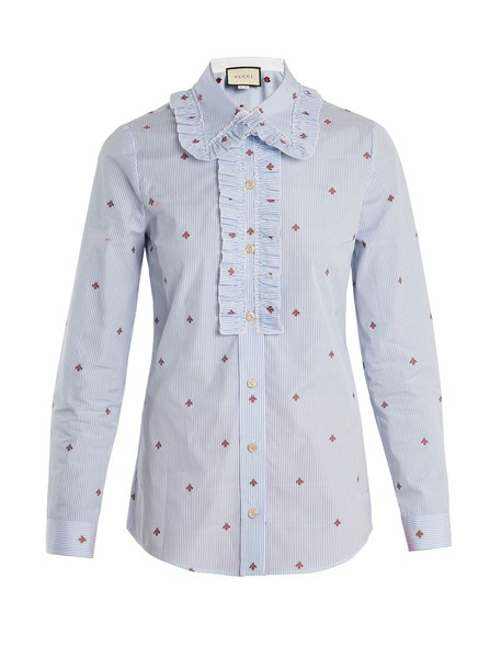 shirt bee cotton white blue top